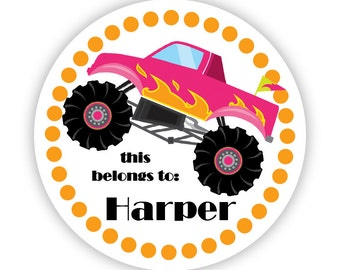 Name Tag Label Stickers - Orange Polka Dots, Cute Pink Monster Truck Personalized Name Stickers - Round Tags - Back to School Name Labels