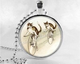 CAT Necklace, Cat Riding Bicycle, Cat Necklace, Cat Jewelry, Cat Pendant, Cat Charm, Bike, Glass Photo Art Necklace