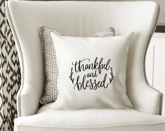 Iron-on Thankful and Blessed Decal // Fall // Thanksgiving