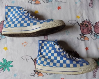 Vintage 80's White/Blue Checkered Hi Top Sneakers, size 12M/14W by Trax USA made