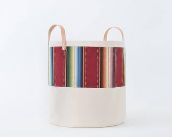Large Natural Canvas Bucket Basket: Maroon Stripe