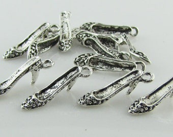 Shoe charm, Tibetan antique silver, lead free, 8 pieces