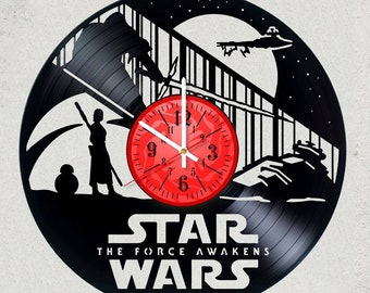 STAR WARS JEDI Side 12 inch Vinyl Record Clock with Silent clock mechanism Star Wars Gifts for kids star wars party decor