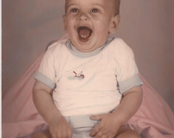 Color Photograph of an Extremely Happy Baby Boy, Vintage 8 x 10 Photograph, Laughing Child, Portrait Photograph