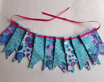 """MINI Fabric Bunting - 1.38 m/54"""" with 9 Double Dovetail Flags Cerise Pink Mint Teal Purple PInk Ribbon Nursery Decor Baby Shower Home Decor"""