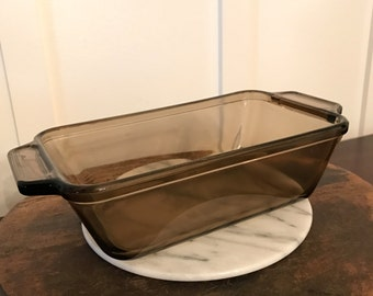 Vintage Smoky Brown Anchor Hocking Large Glass Rectangular Loaf Dish Pan | 9 Inch | 1.5 Quart