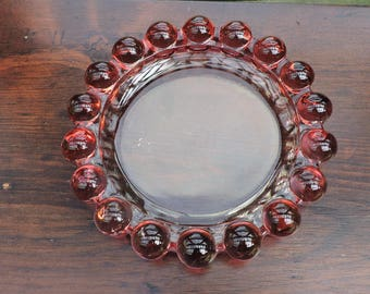 Vintage Large Cranberry Candlewick Style Ashtray