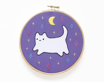 Cosmic Baby Cat - Hoop Art Kit - Limited Edition Kiriki Press Collaboration