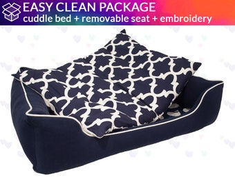 Removable Seat Cushion Dog Bed | One Bed - 6 Different Looks!  | Washable and easy to clean