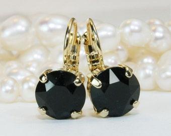 Black Drop Earrings Black Gold Earrings Black Swarovski Crystal Earrings  8mm Single Stone Grey Black Bridesmaids Gift,Gold,Jet Black,GE2