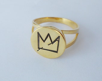 Jean-Michel Basquiat's Crown Ring,Personalized Crown Ring,Engraved Crown Ring,Special Gift