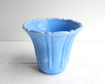 Vintage Akro Agated Fluted Vase Planter, Delphite Blue Flower Pot Slag Glass, 296