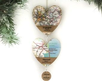 Personalized Met Engaged Married Ornament, Love Story Map Ornament, Unique Wedding Gift for Couple, First Christmas Married, Where It All