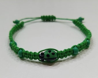 Green Macrame Bracelet with Green Ladybug