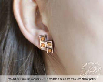 Tetris wood stud earrings. Tetris earrings, wood gaming studs, gamer girl gift, gamer girl jewelry, retro gaming, geek