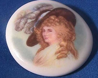 Vintage Pottery Studio Button, Hand Made, Lady with Elaborate Hat