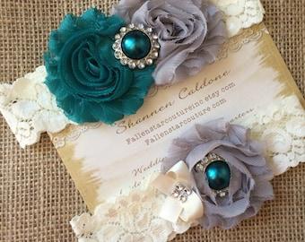 TEAL / GREY wedding garter set / bridal  garter/  lace garter / toss garter included /  wedding garter / vintage inspired lace garter