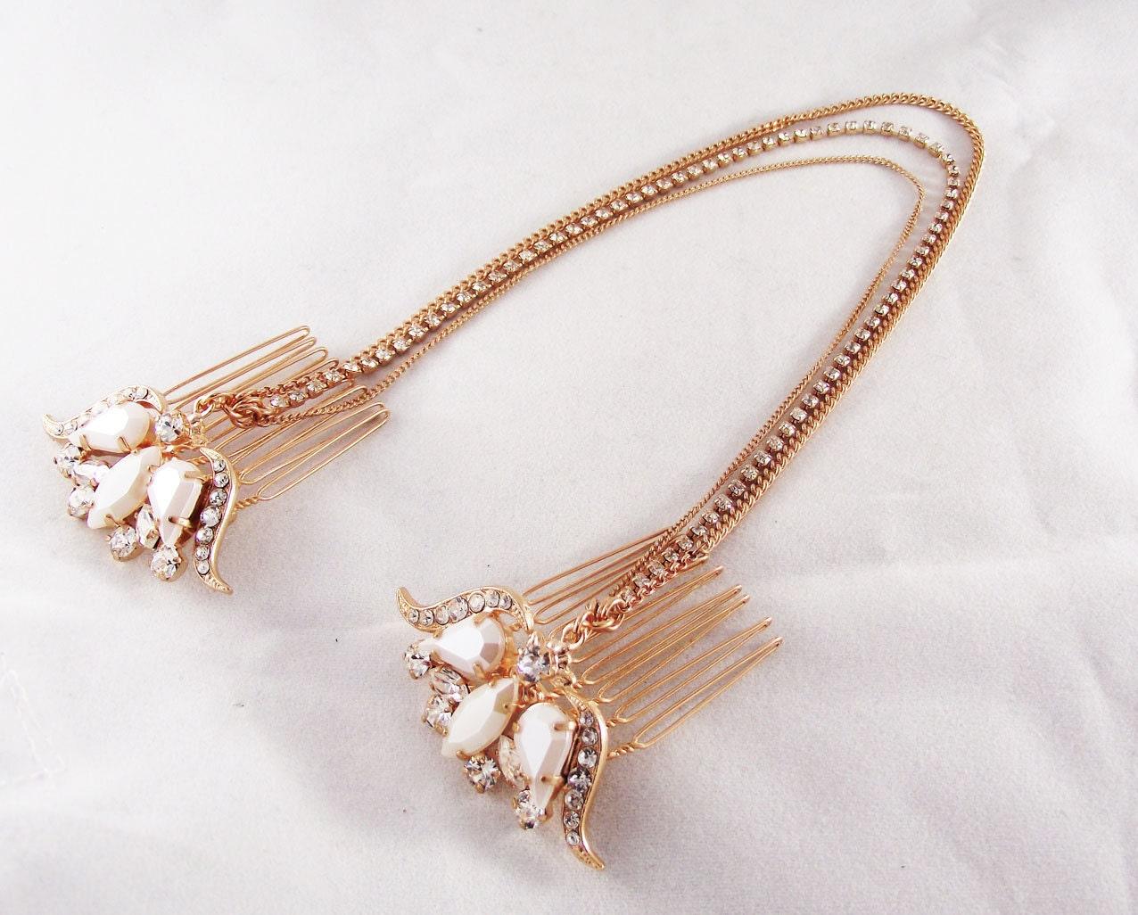 rose gold hair comb rose gold headpiece hair chain bridal