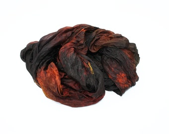black silk scarf - Black Amber -  brown, black, orange, yellow silk scarf.