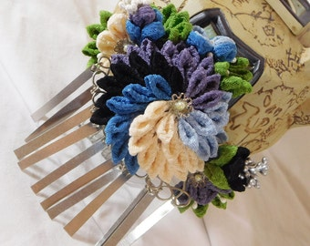 Subdued Hues Tsumami Kanzashi Chirimen Kimono Accessory Kiku Bouquet with Bira Bira on Hair Comb