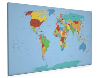 World map canvas etsy political world map 22x34 inch box canvas sale 50 off rrp only gumiabroncs Gallery