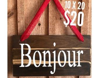 Bonjour, door hanger, wall decor, home decor, wall art