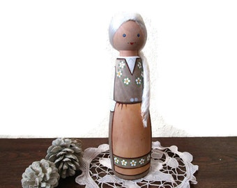Danish Modern Uppsala Sweden Wood Aja Tra Doll Female Collectible Handmade Hand Carved Swedish Folk Art