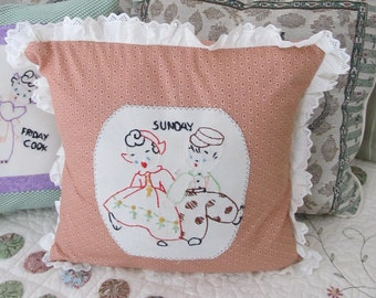 Small Accent Pillow for Couch, Bed or Chair Pillow, Guest Room Pillow, Vintage Embroidery Cushion, Throw Pillow for Couch, Pil11