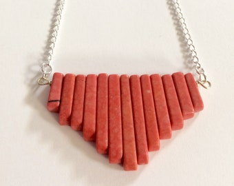 Salmon Coral Necklace With Silver