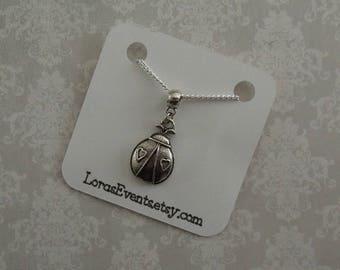 Ladybug Necklace - Lovebug Necklace - Ladybird Necklace -Sterling Silver Chain