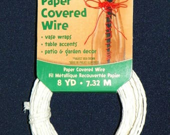WHITE PAPER WIRE ~ 48 Feet of Wire Covered with Thick White Paper, Two Packages of 24 ft each
