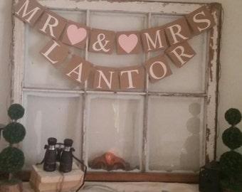 Mr Mrs Banner, Rustic Wedding Decor, Mr Mrs Sign, Mr Mrs Wedding Banner, Blush Wedding Decor, Pink Wedding Decoration, Shabby Style Wedding