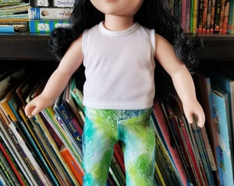 "Doll Leggings, 18"" Doll Clothes, Peacock Feathers Doll Pants, Girls 18 inch Doll Clothes"