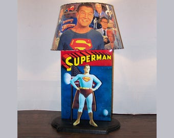 Adventures Of Superman Gorgeous Custom LAMP AND SHADE 1954 To 1958 From  Color Episodes