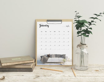 Digital Monthly Calendar 2017, Printable Calendar, Digital Calendar 2017, Prints Calendar, Calendar Printable, Calendar Print,