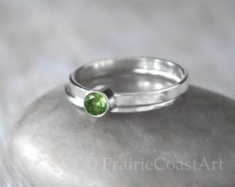 Birthstone Ring Set - Choose a Birthstone Sterling Silver Stack Ring Set - Peridot, Pink Tourmaline, Sapphire, Emerald, Ruby, Topaz, Zircon