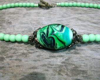 Grün & Schwarz Halskette