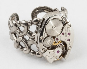 Steampunk Ring Vintage watch movement clock work Statement Ring, adjustable ring, silver filigree band, Cocktail Ring Steampunk jewelry Gift