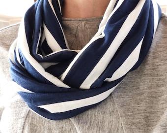 Infinity Scarf - Navy/White Striped Cotton Knit