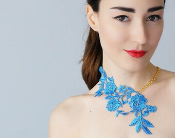 Blue Necklace Lace Necklace Statement Necklace Floral Necklace Women Accessory Gift For Her Woman Fashion GiftCustom/ LASATA