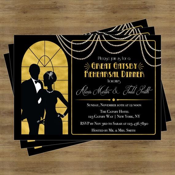 great gatsby invitation rehearsal dinner invitation