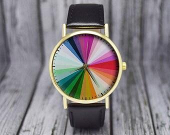 Color Wheel | Minimalist Watch | Leather Watch | Womens Watch | Ladies Watch | Men's Watch | Birthday | Wedding | Gift Ideas | Accessories