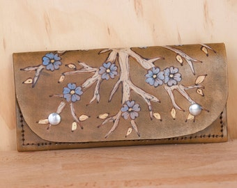Leather Wristlet Wallet - Womens Large Wallet with Wrist Strap -  Winter pattern with flowering tree in antique brown  - Fits iPhone 6+