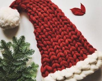 Santa Hat knitting pattern, DIY Santa Hat, Make your own Christmas Hat, downloadable pattern, chunky knit pattern, instant download