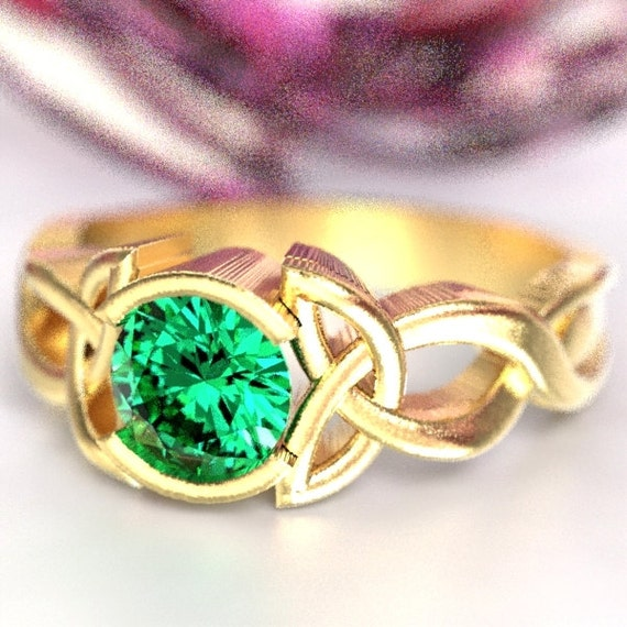 Celtic Emerald Engagement Ring With Trinity Knot Design in 10K 14K 18K Gold, Palladium or Platinum Made in Your Size CR-405b