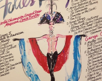 Vintage 1970's Les Folies Bergere Framed Cabaret Poster and Play Bill / French Cabaret Art / Theatre Art