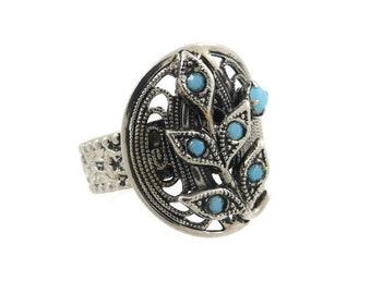Vintage German, Filigree Ring, Blue Rhinestones, Silver Tone, Adjustable, Signed W Germany