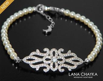 Pearl CZ Bridal Bracelet, Swarovski Ivory Pearl Silver Bracelet,  Wedding Bridal Dainty Bracelet, Prom Pearl Bracelet, Bridal Pearl Jewelry
