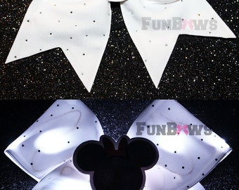 Awesome New Minnie - special event - White LED Light up bow with Rhinestones and a 3-D cutout by FunBows !