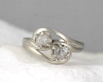 2 Stone Raw Diamond Engagement Ring Set - Two Uncut Rough Diamond Wedding Set - Forever and Always - Diamond Duo Rings - 14K White Gold
